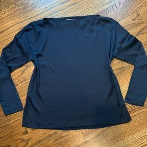 Vince Silk Navy Blouse Loose Fit